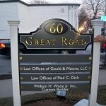 carved gold sign for business bedford ma custom carved sign Cambridge ma gold business sign dimensional signage Boston