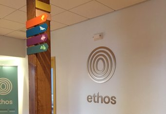 ethos Boston wall logo interior sign business sign