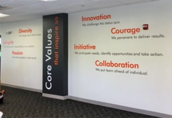 dimesional wall graphics core values specialty interior signs