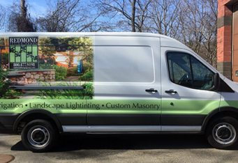 van wrap truck lettering logo design vehicle branding bosto burlington landscape truck graphics