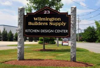 monument business sign carved gold leaf sign architectural signage boston wilmington ma