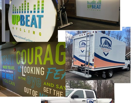 sign projects truck lettering vehicle wrap wall logo wall mural HDU sign van graphics boston